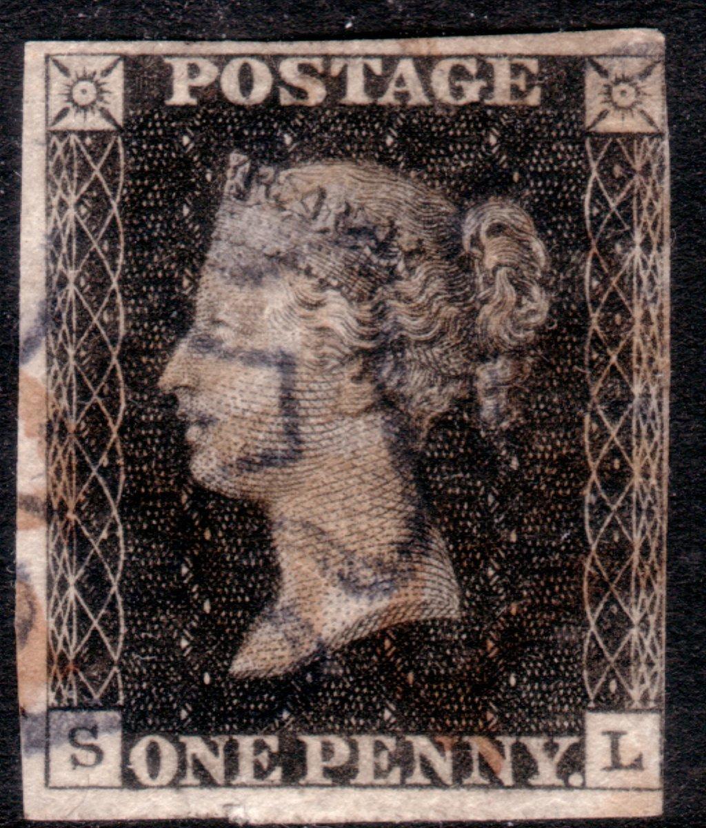 1840 1d Black Plate 6 with Blue-black & Red Maltese Crosses