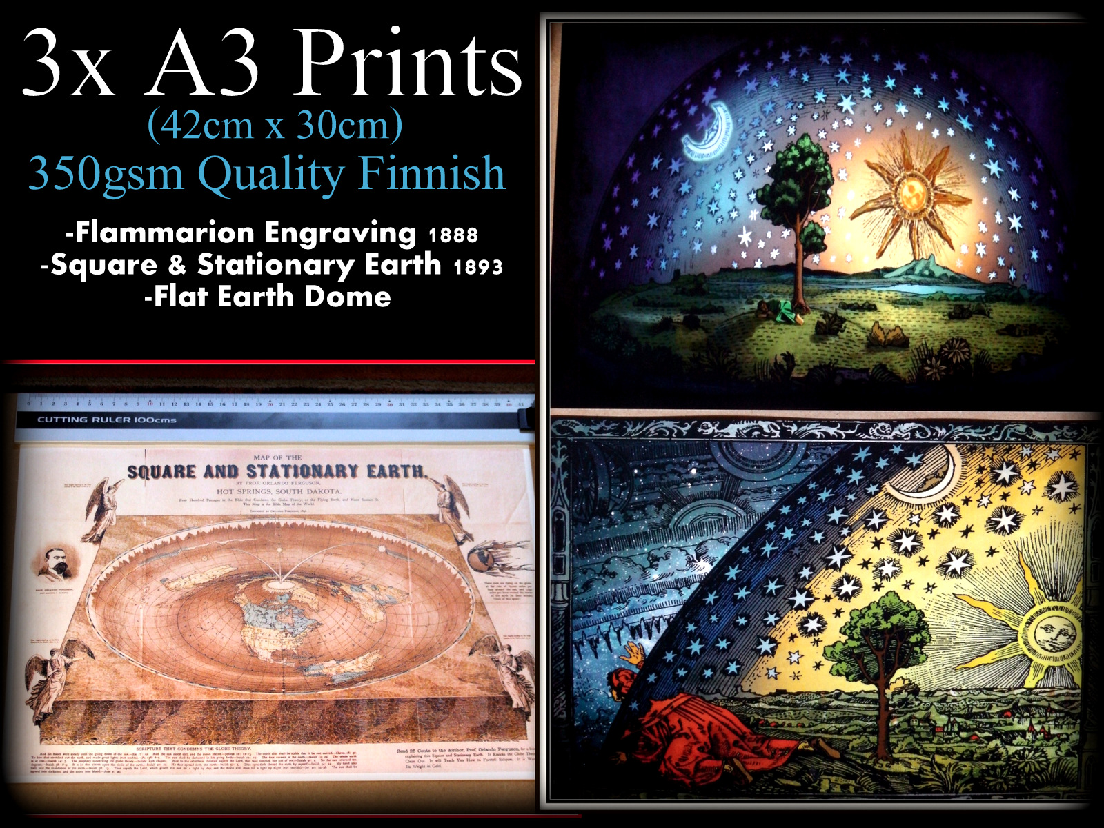 3X FLAT EARTH PRINT #4