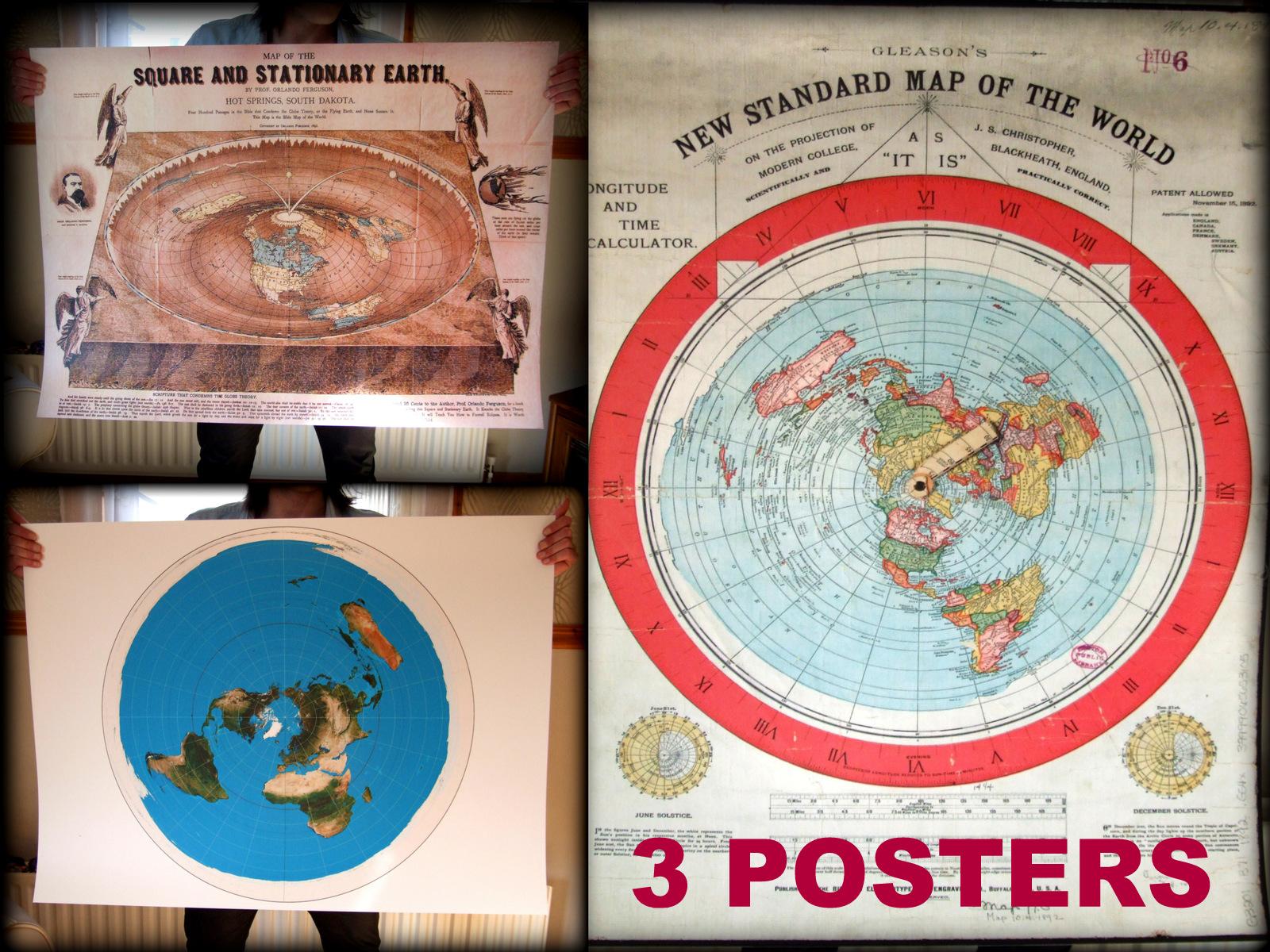 3x Flat Earth Poster - (220mic Medium PVC)