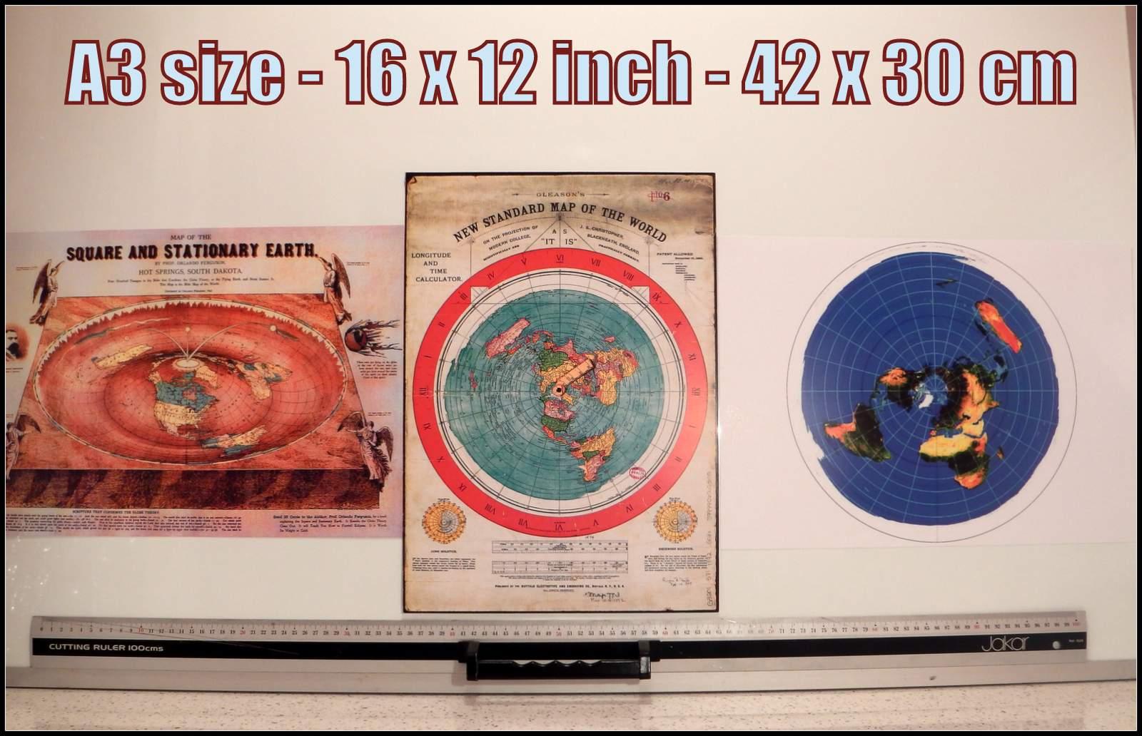 3x Flat Earth Prints #3