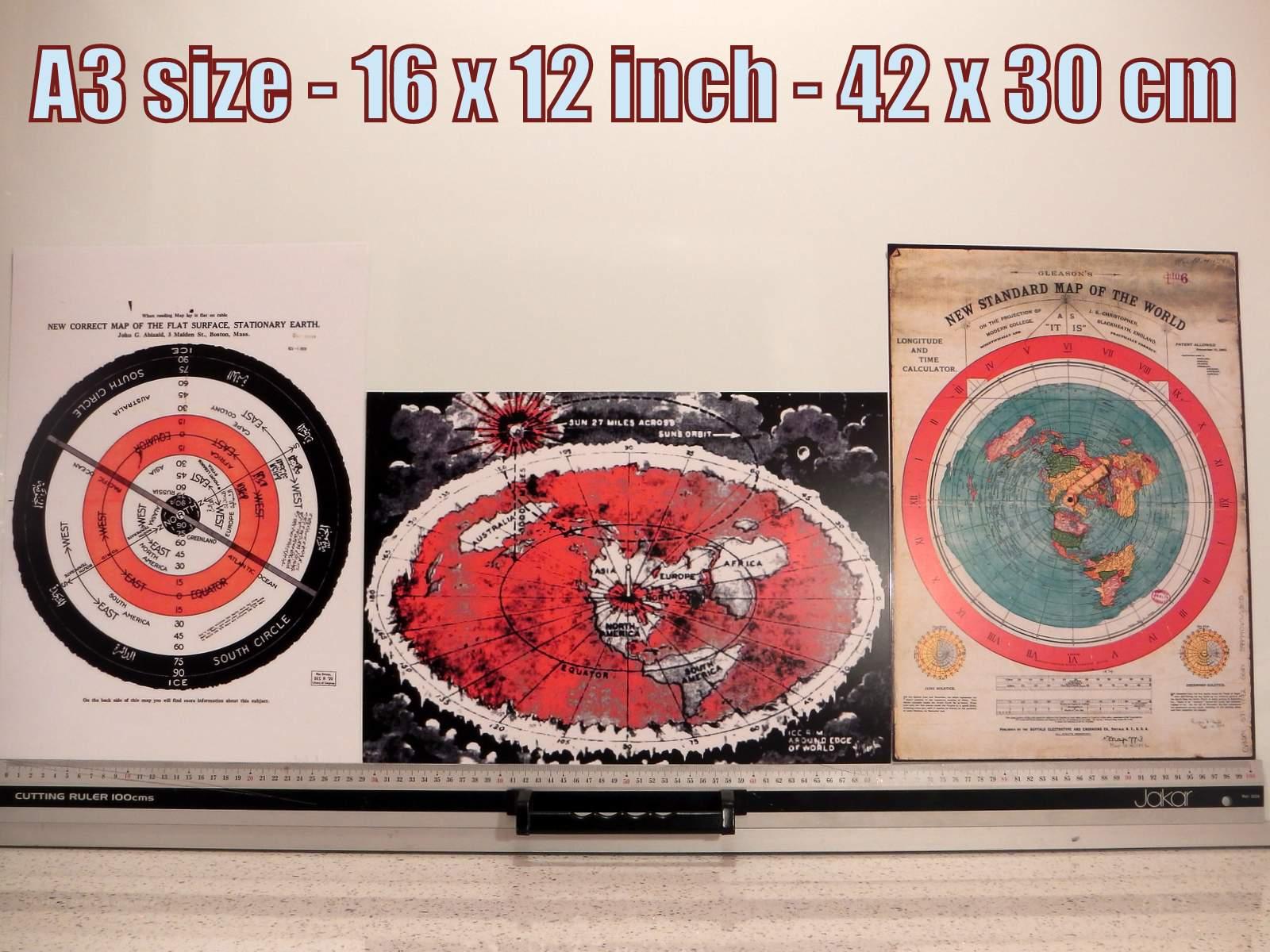 3x Flat Earth Prints #3.1