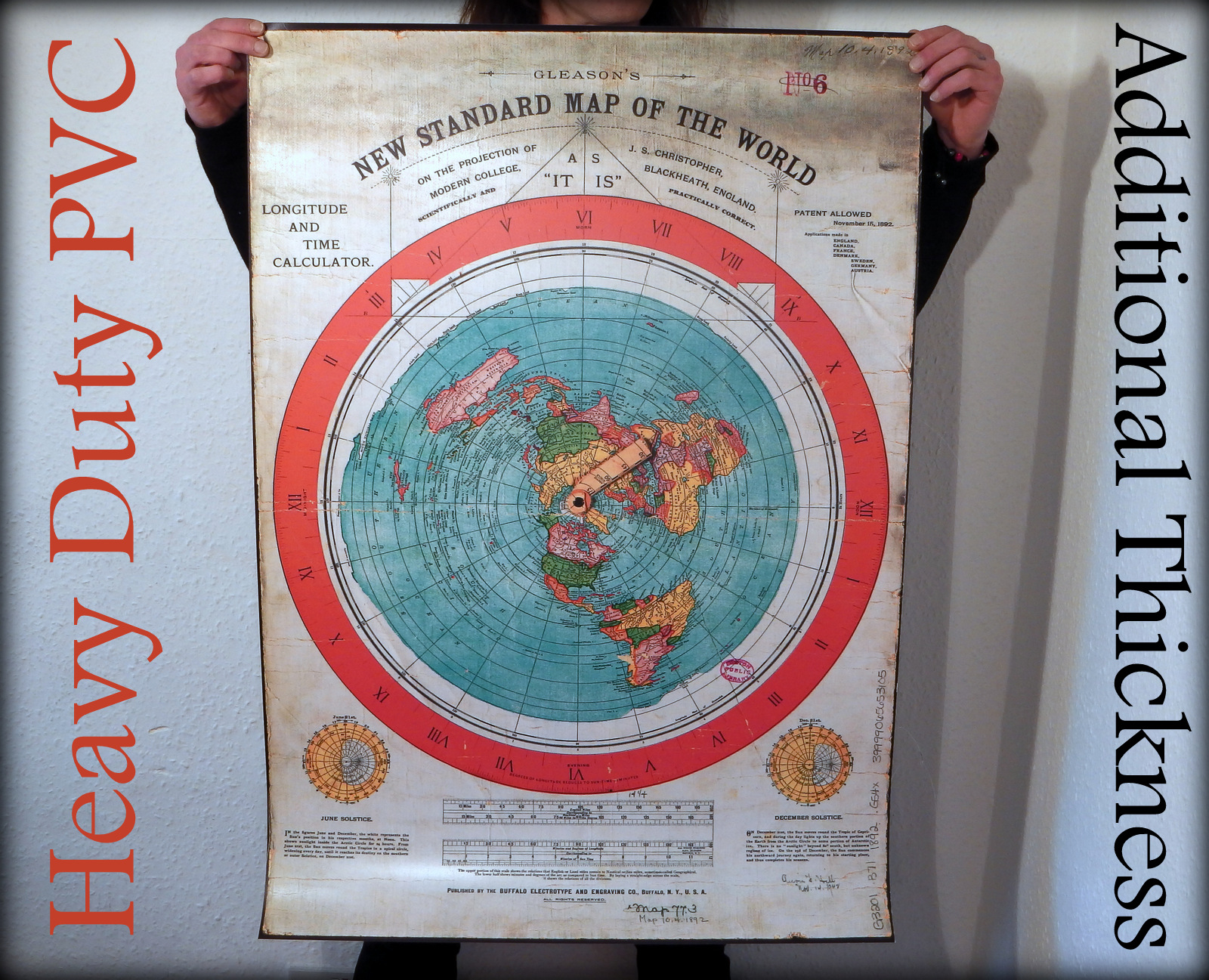 HEAVY DUTY Gleason's New Standard Map Of The World 1892