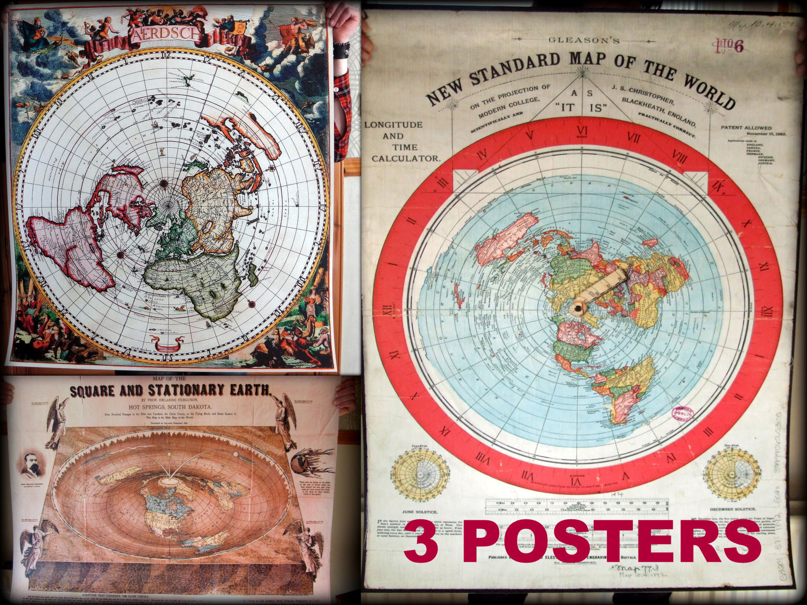 3X Flat Earth Poster (40x30inch) - 400mic PVC -