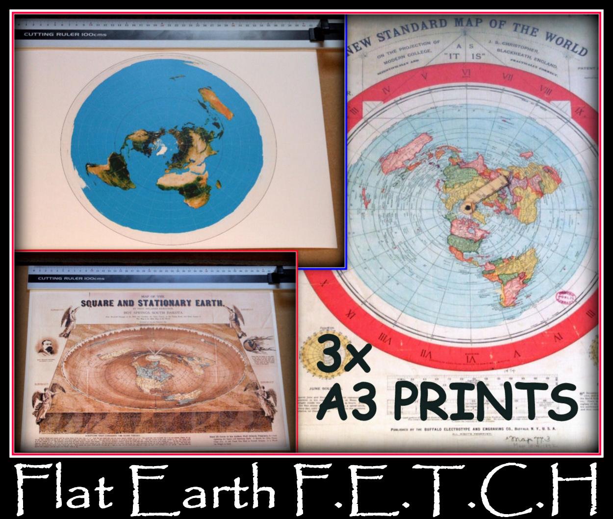 3X FLAT EARTH PRINT #1