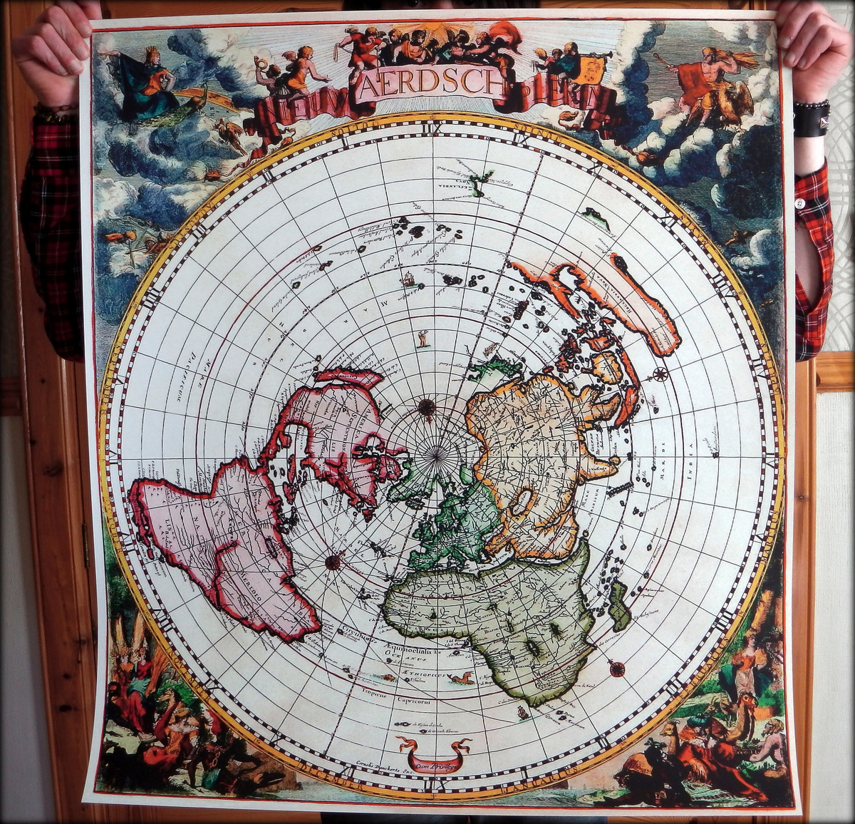 Flat earth world maps flat earth poster prints heavy duty jacobus robijn nieuw aerdsch pleyn 1700 gumiabroncs Gallery