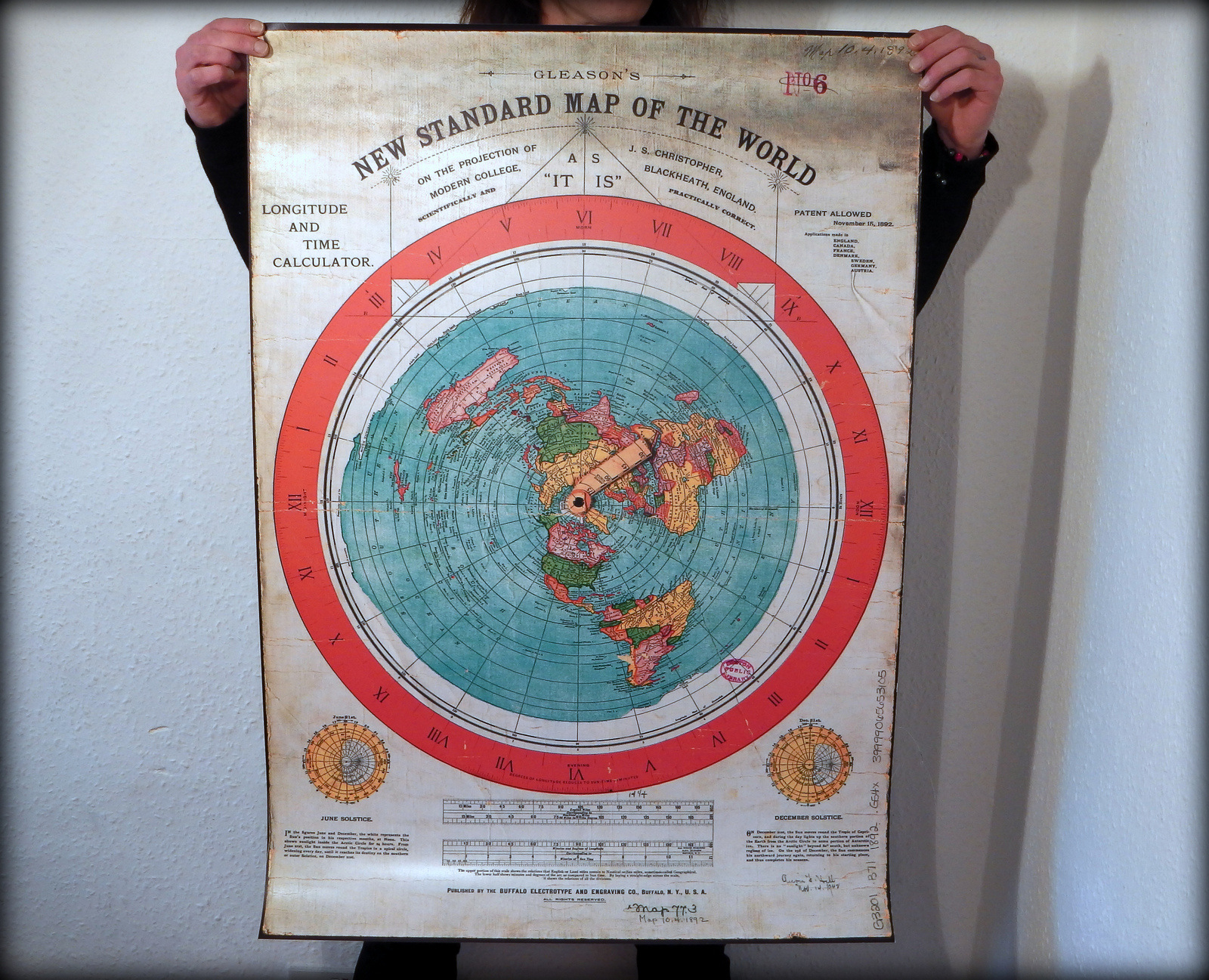 Gleason's New Standard Map Of The World 1892