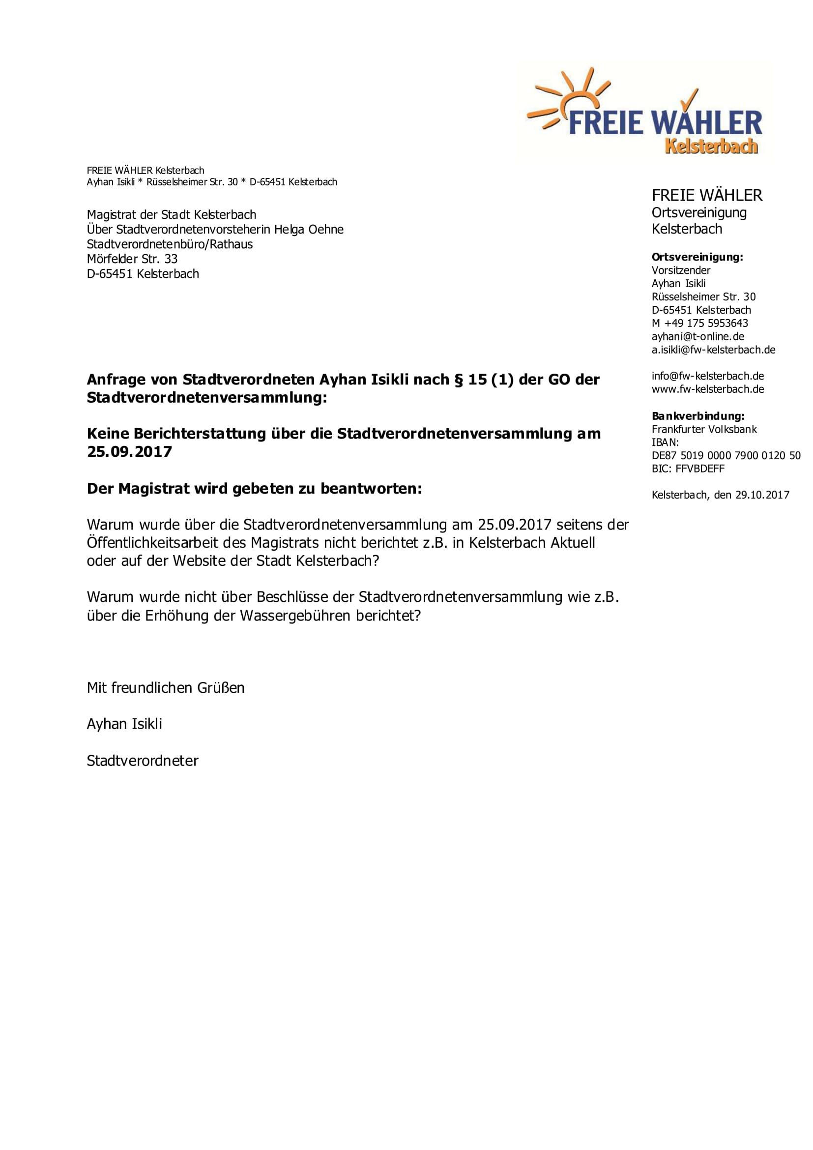 Anfrage Kosten Berichterstattung 250917