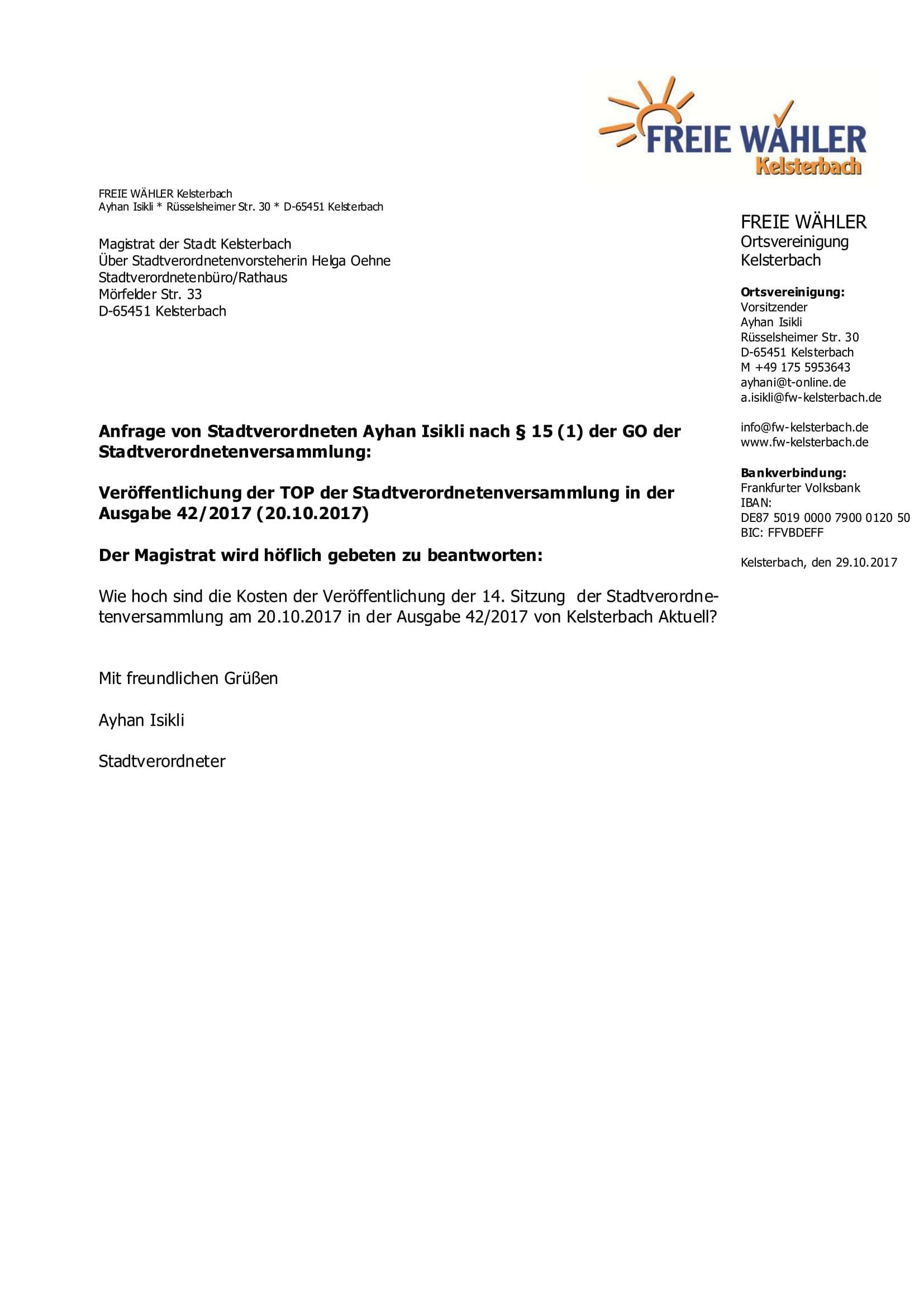 Anfrage Kosten 20102017 Magistrat