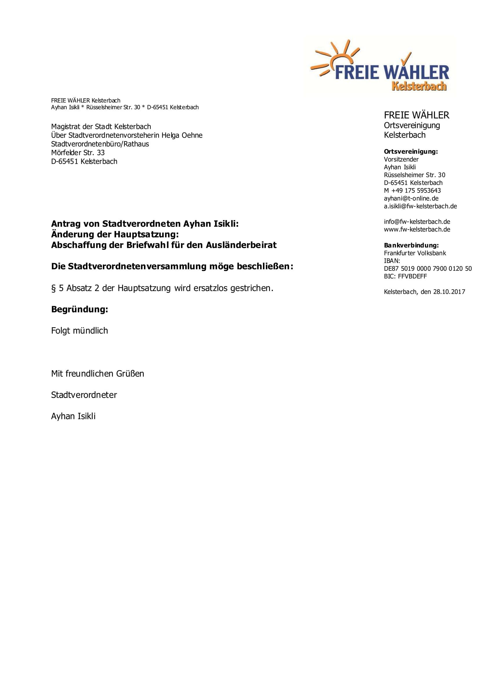Abschaffung Briefwahl Ausländerbeirat Antrag
