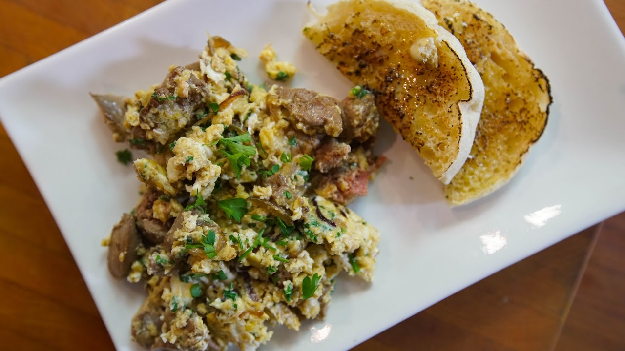 Chicken liver and scrambled eggs