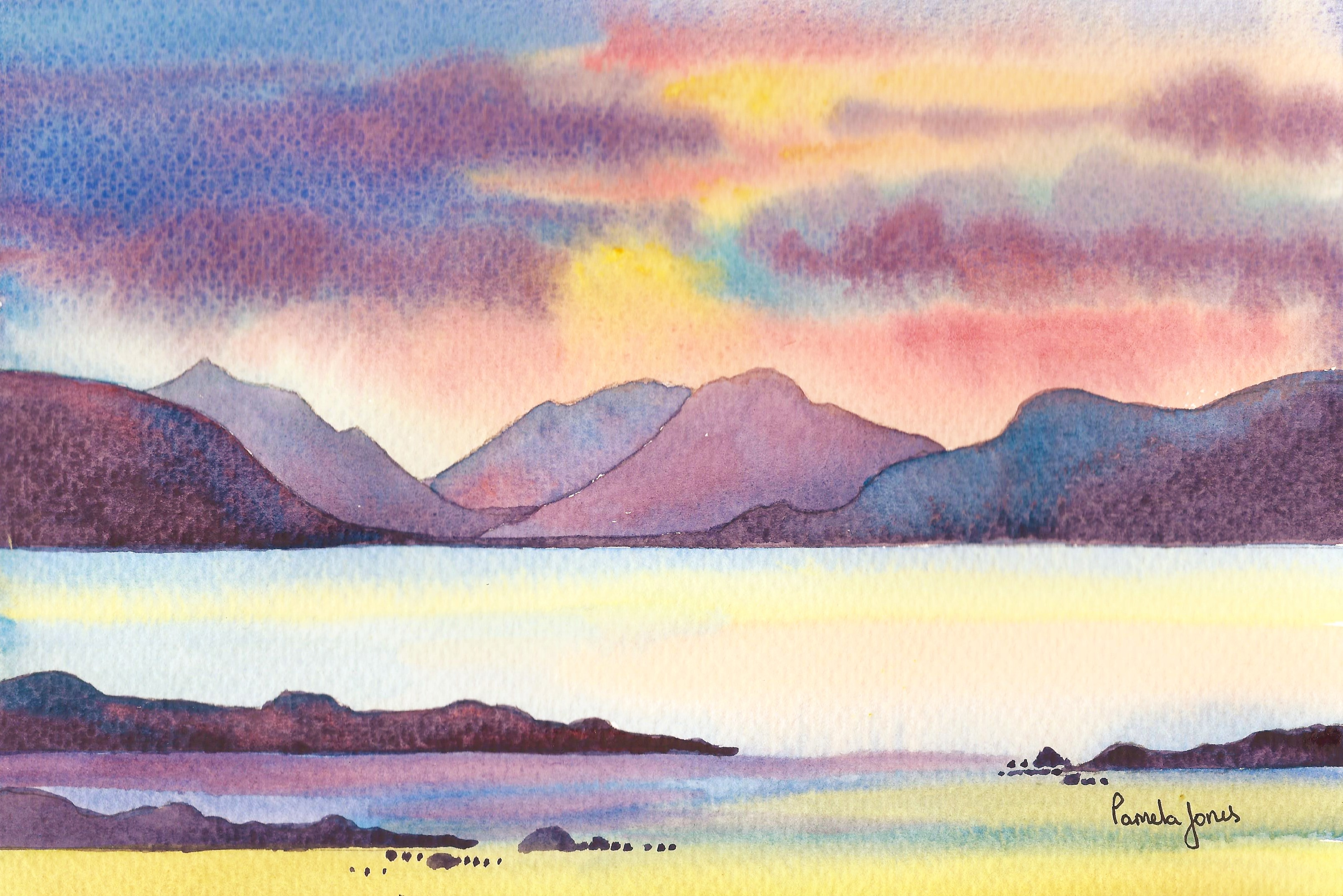 6.  Original Watercolour ::  Sunset, Isle Of Skye, Highlands, Scotland