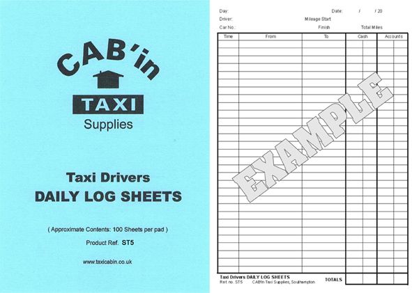 Taxi Drivers Daily Log Sheets  -  Ref. ST5