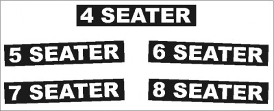 Pre-spaced Vinyl Lettering - 4 < 8 SEATER (option) - sold in pairs