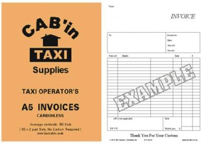 Taxi Operators A5 INVOICES - NON VAT - Ref  A5 INVOICE-P