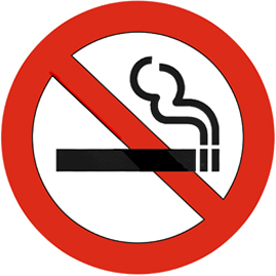 70mm dia. NO SMOKING double sided Window Sticker - Ref. VS2 - APPROVED