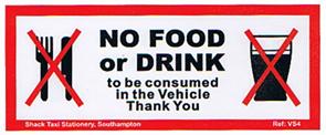 NO FOOD OR DRINK - Ref . VS4