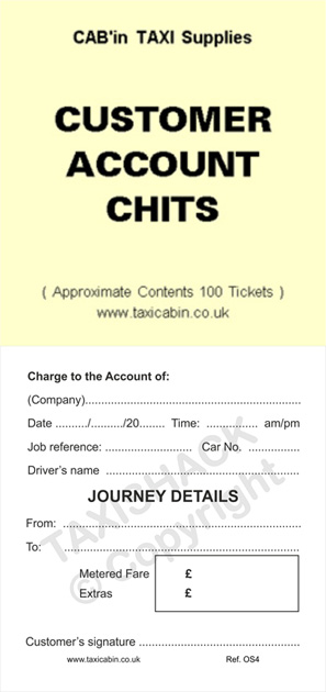 Customer Account Chits - 100 tickets - Ref.OS4