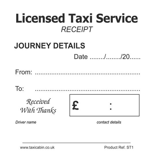 Taxi Driver Customer Receipt Tickets/Pads - Ref. ST1