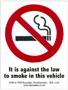It is against the law to smoke in this vehicle. - Ref. LL51