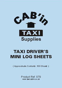 Taxi Drivers Mini Log Sheets  -  Ref. ST6