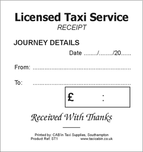 Taxi Driver Customer Receipt Tickets - convenient for your customers - Ref. ST1