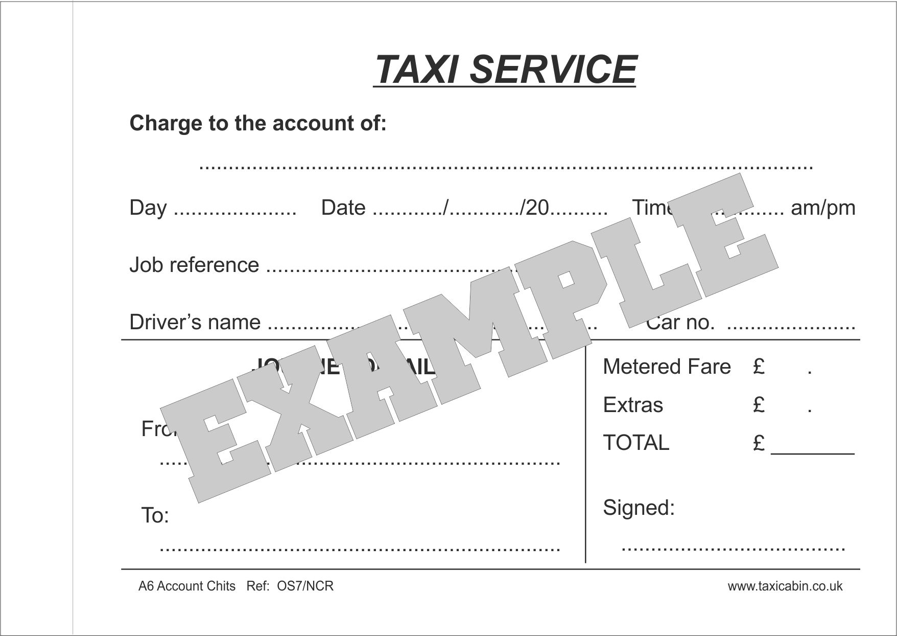 A6 carbonless 2part Customer Account Chits - Ref.OS7/NCR