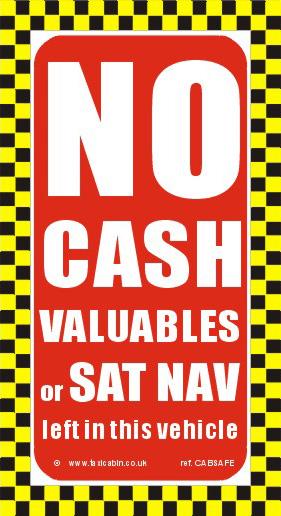 No CASH or VALUABLES Sign - Ref. CABSAFE
