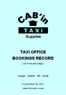 Taxi Office A4 BOOKINGS SHEETS - PADDED - Ref. OS1-P