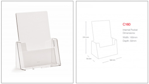 Freestanding A5 Acrylic Brochure Holder - Ref. C160