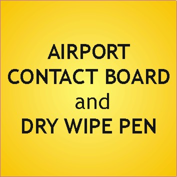 Customised Acrylic Airport Contact Board and Dry Wipe Pen - .Ref. AC12-P