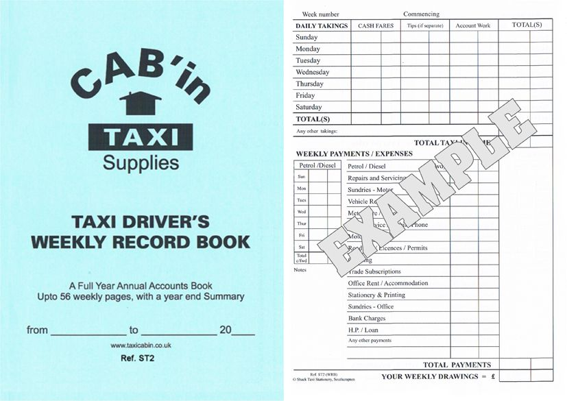 Taxi Drivers Weekly Accounts Record Book - Ref. ST2