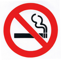 D/sided 70mm NO SMOKING window sticker - Ref. VS2  APPROVED