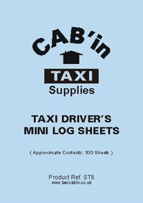Taxi Drivers Mini Log Sheets  -  Ref. ST6