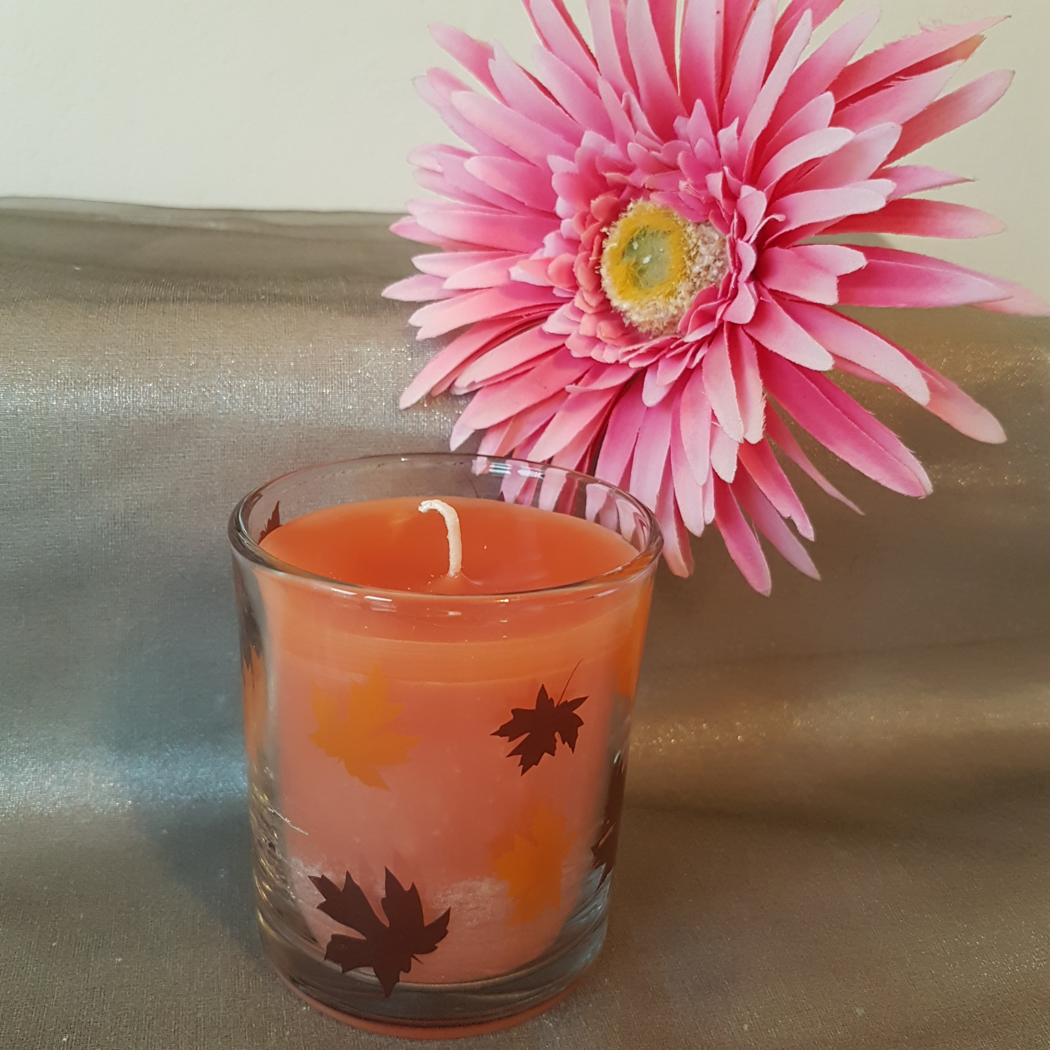 Glaskerze orange Glas mit Blätter