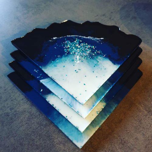 Untersetzer 4er Set lila-dunkelblau