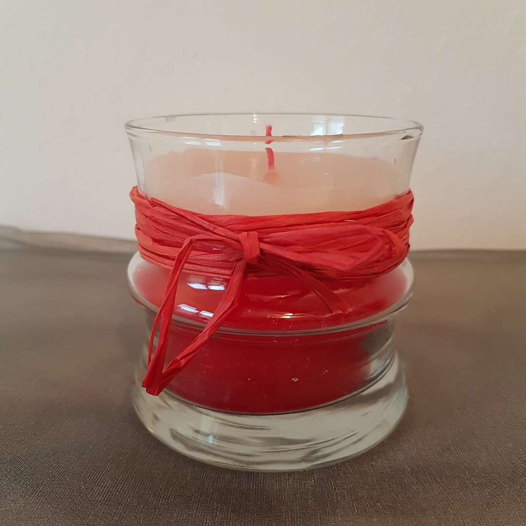 Glaskerze rot weiß mit Schleife