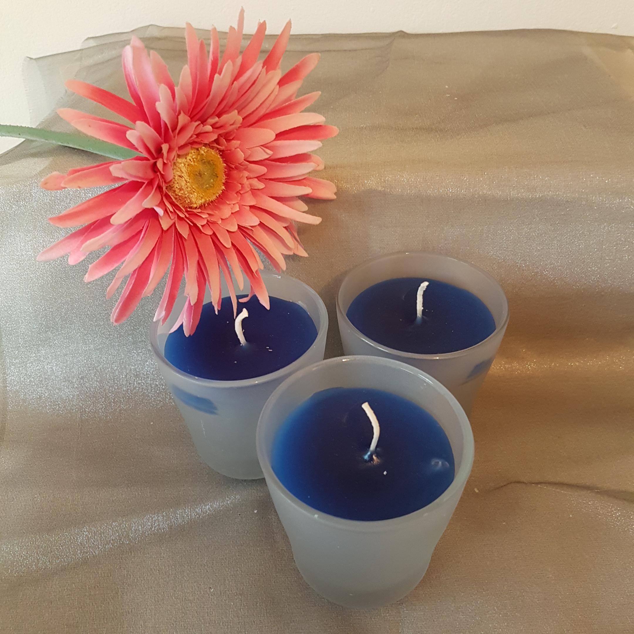 Glaskerze blau 3er Set
