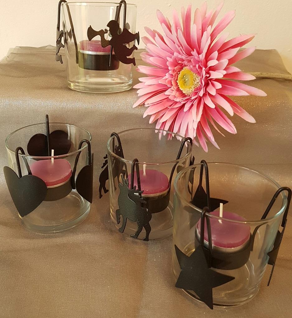 Teelichtgläser mit Stahldeko schwarz 4er Set