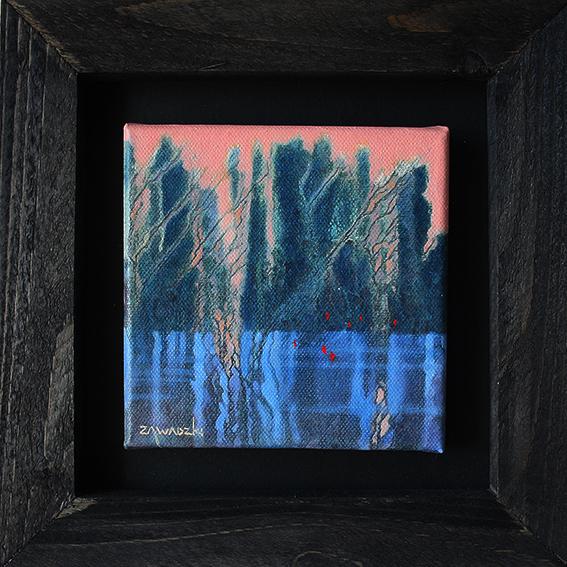 the blue lake original framed oil painting by paul zawadzki