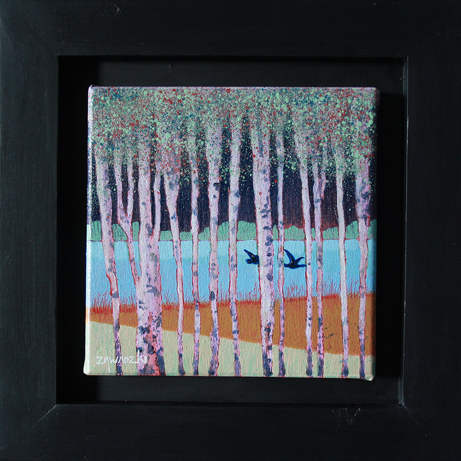 Through the Birches / small original framed oil painting by Paul Zawadzki / trees, birds and landscape