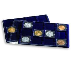Plateaux avec 12 cases p.cadres cartonnés jusqu'a 67x67mm, bleu avec couvercle transparent