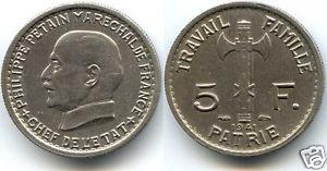 ESSAI 5 FRANCS PÉTAIN 1941