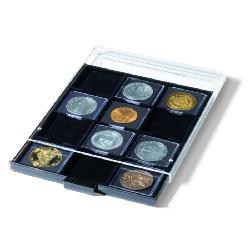 Médaillier 12 compartiments carrés jusqu'à 67 x 67 mm, teint fumée, avec plateau noir