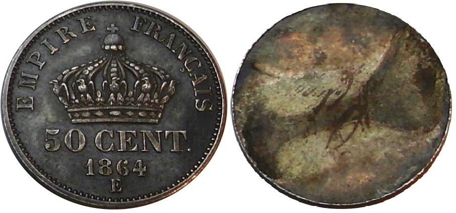 UNIFACE 50 CENTIMES NAPOLEON III 1864 E