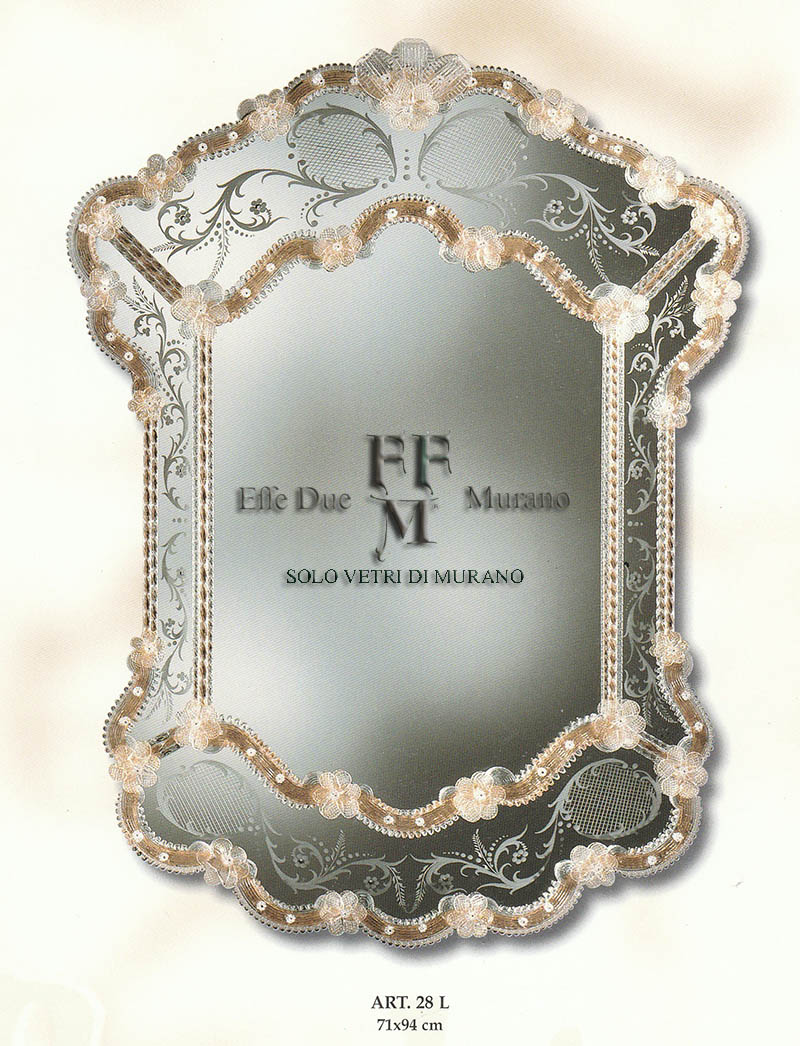 Murano  Glass Mirror 28 L