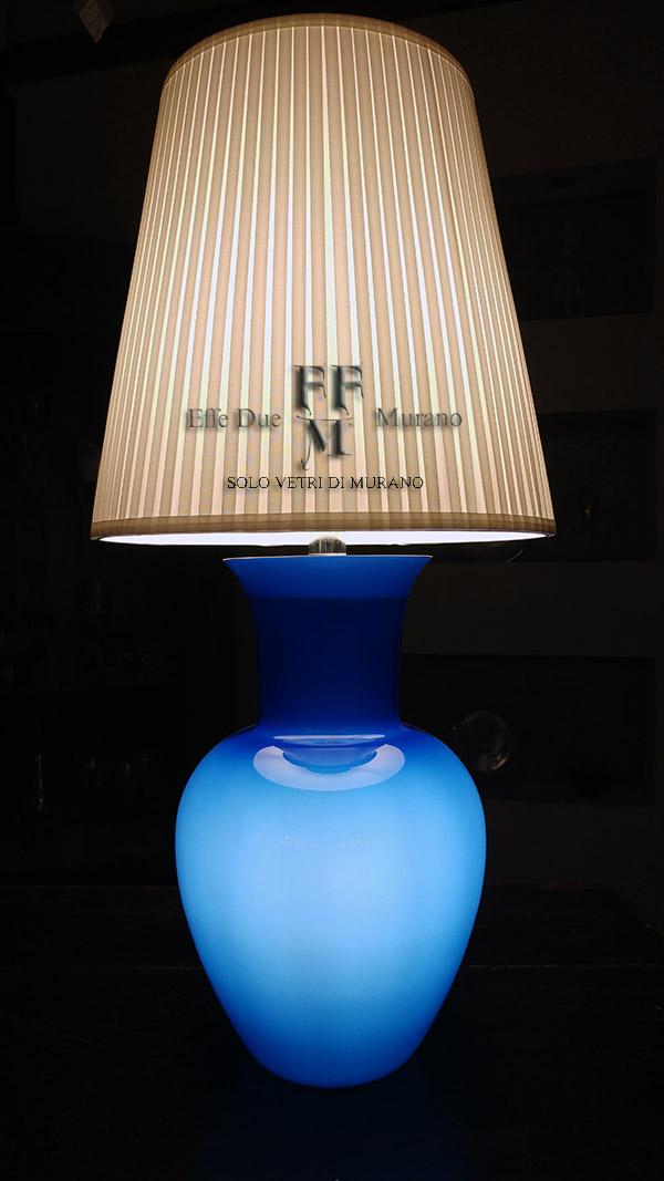 lampada tavolo vaso incamiciato blu