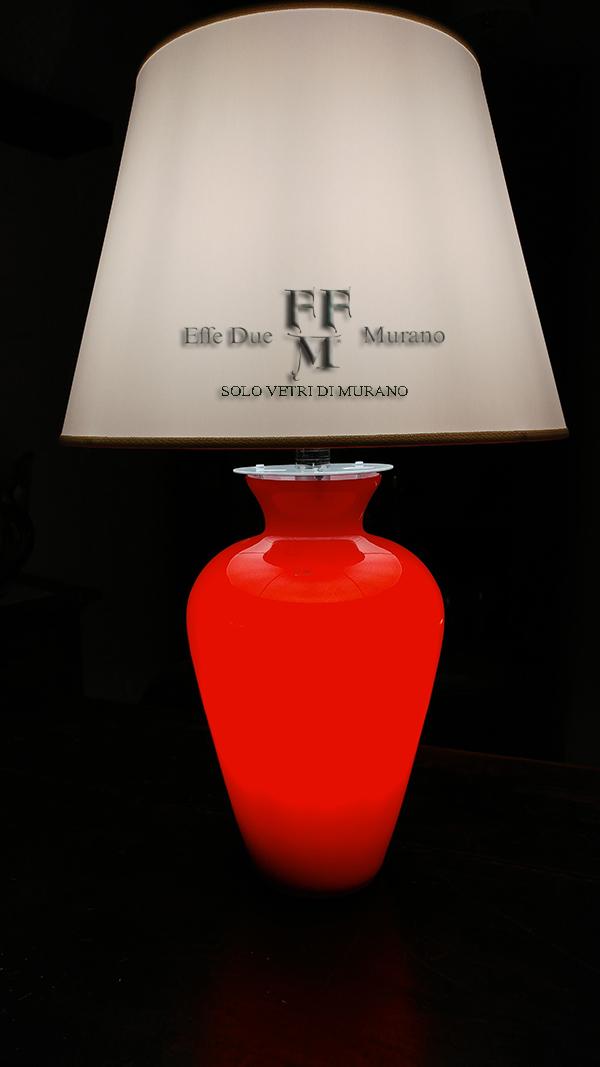 lampada  tavolo vaso incamiciato rosso