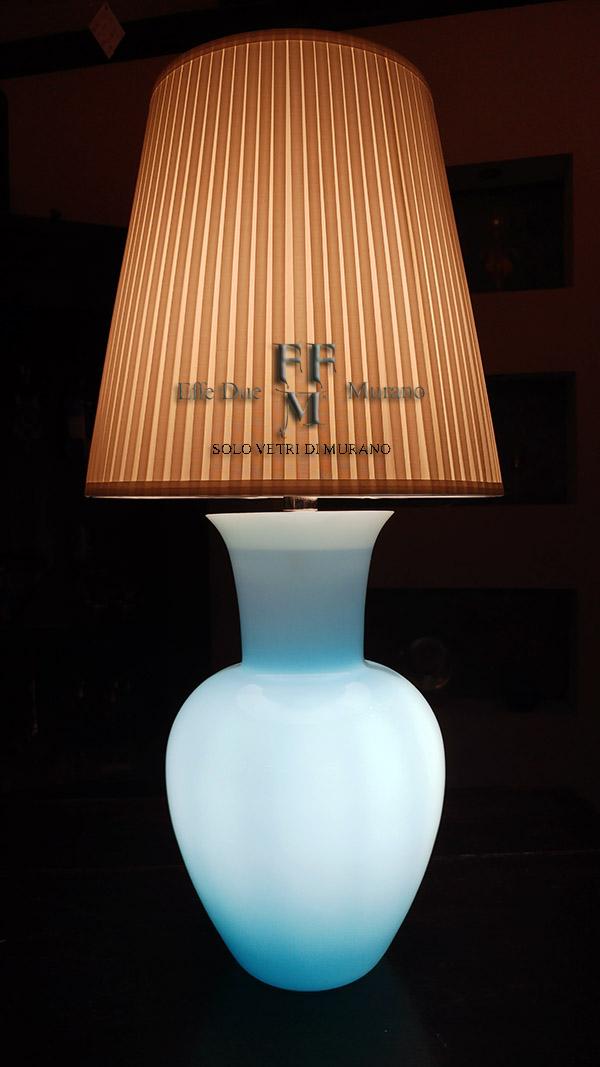 lampada tavolo vaso incamiciato celeste