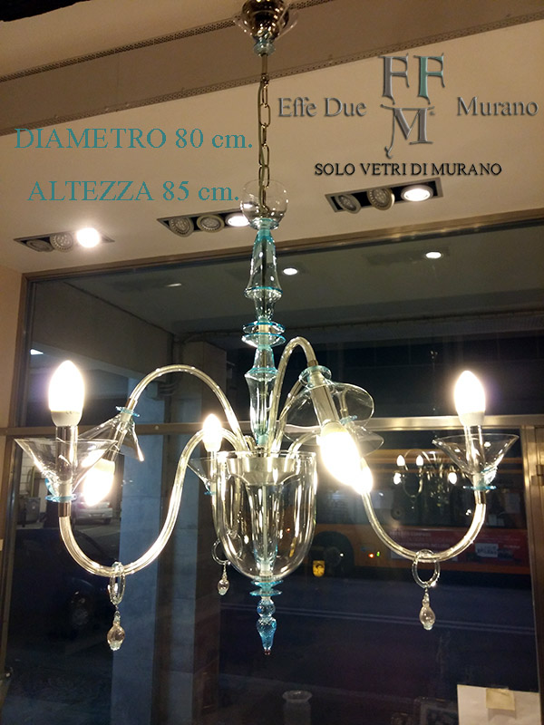 Murano chandelier 6 light cristal lightblue