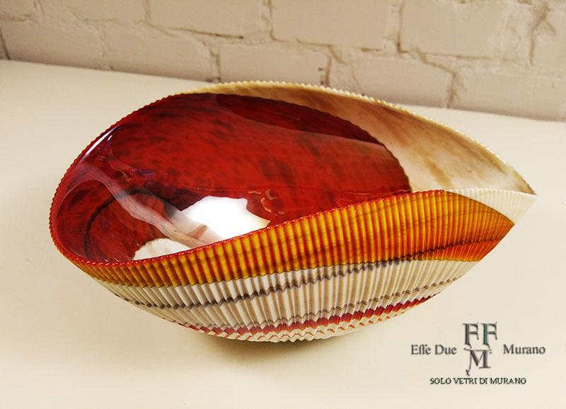 yalos  centrotavola shell rouge 30 cm